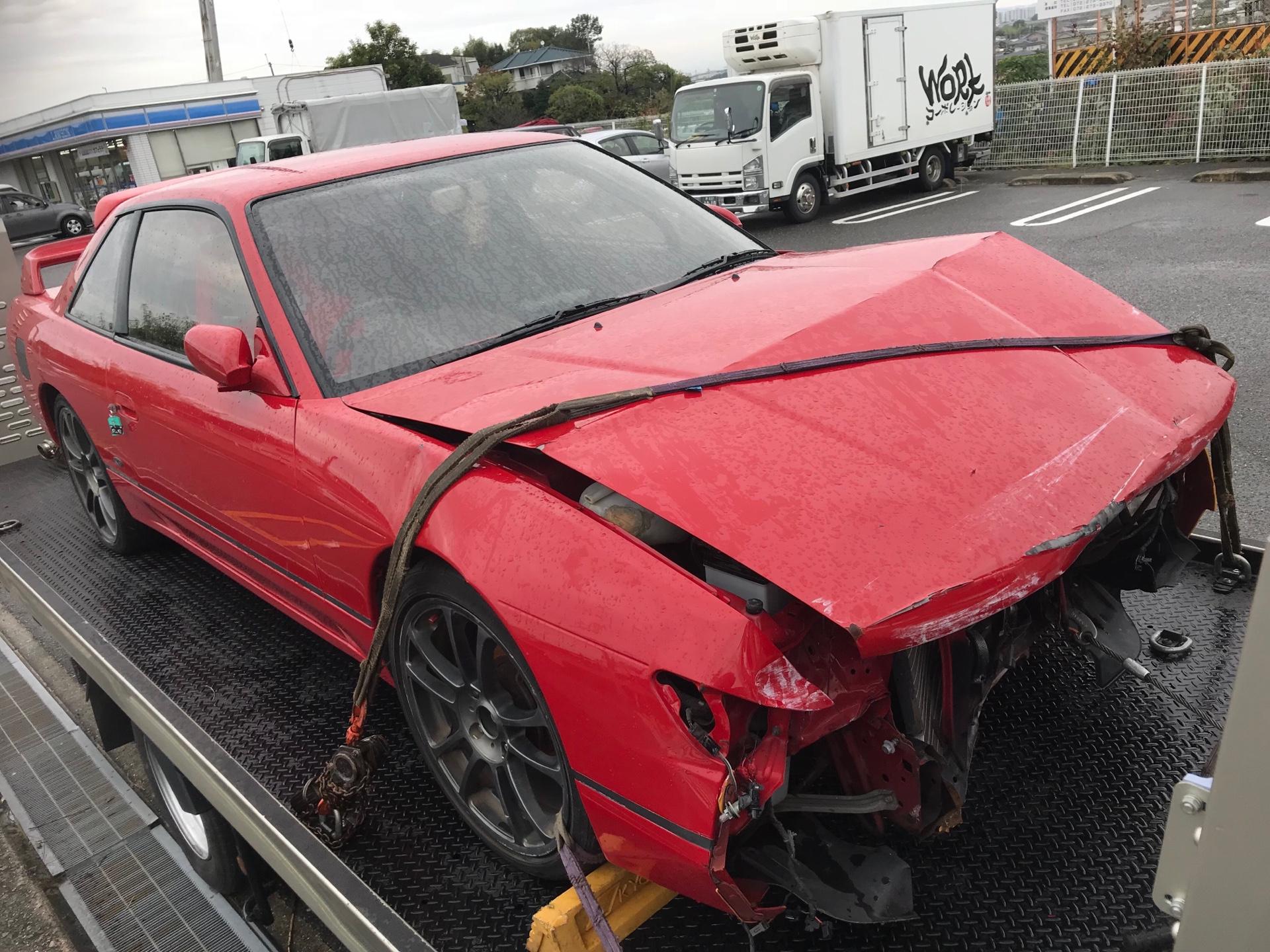 事故車 買取情報 大阪にて事故現状車のS13シルビアを買取